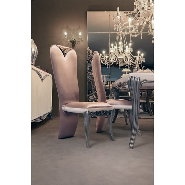 Spacium High Back Dining Chair With Signature Silver Detailing
