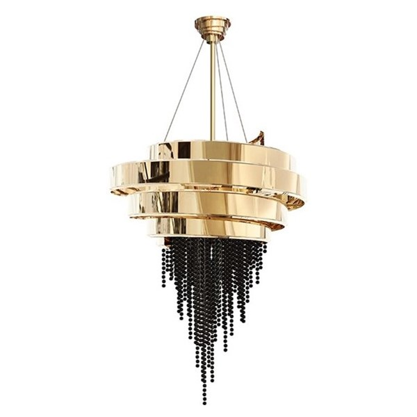 Spiral Gold Plated Brass & Swarovski Crystal Chandelier