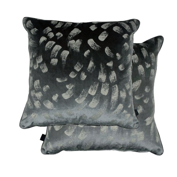 Sumptuous Dark Velvet Foil Patterned Cushion