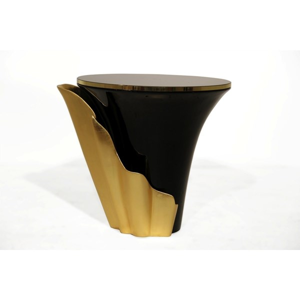 Superior Gold and Black Side Table