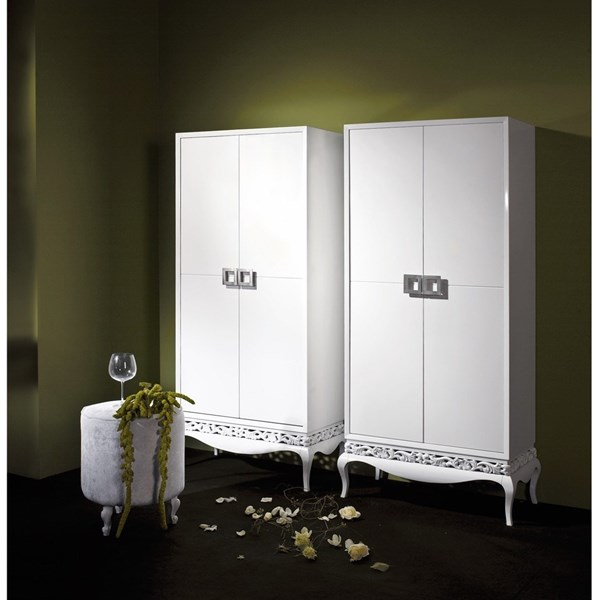 White gloss tall cabinet / wardrobe with 2 doors and silver baco inside