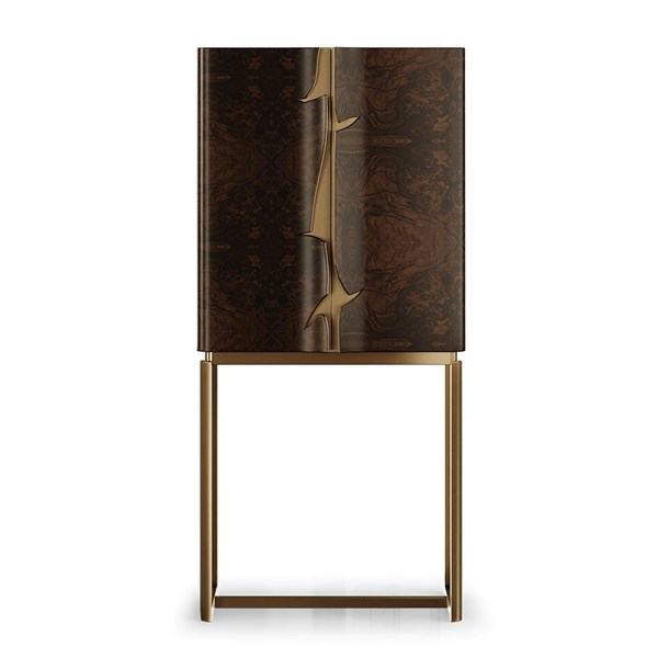 Tanya Cabinet With Walnut Root Veneer & Brass Detail