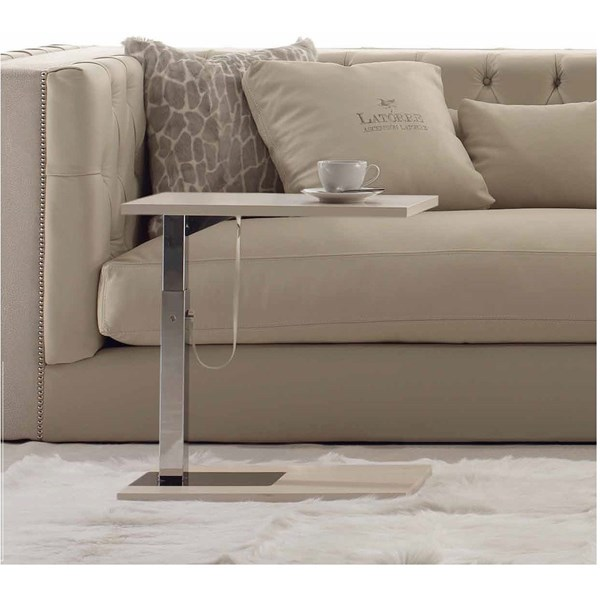 Telescopic White Marble And Silver Steel Rectangle Side Table