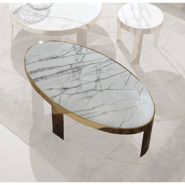 Oval Terzo Coffee Table With Marble Top