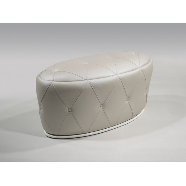 Tortoise champagne buttoned oval pouf