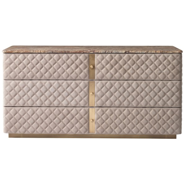 Diamond Quilted Debonaire Dresser with Marble Top