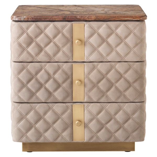 Diamond Quilted Debonaire Nightstand with Marble Top