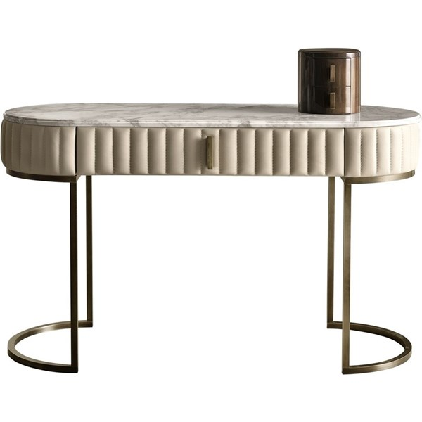 Touched D Amphora Leather, Brass & Marble Writing Desk