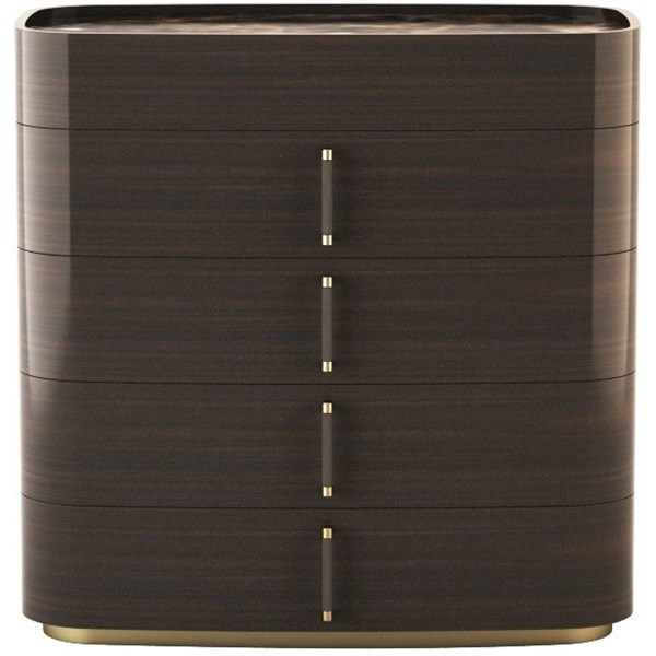 Touched D Curved Gloss Canaletto,& Brass Dresser