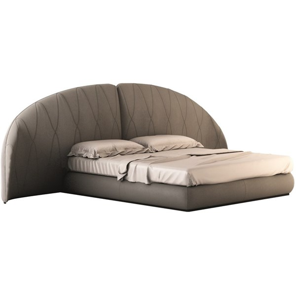 Touched D Curve Upholstered Leather Bedstead