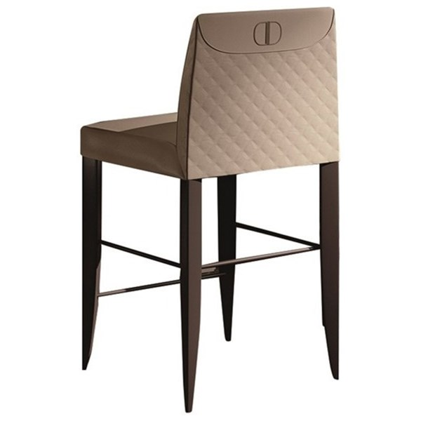 Touched D Diamond Upholstered Leather & Beech Bar Stool