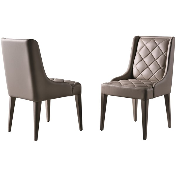 Touched D Gracious Upholstered Leather Beech Diamond Backed Chair