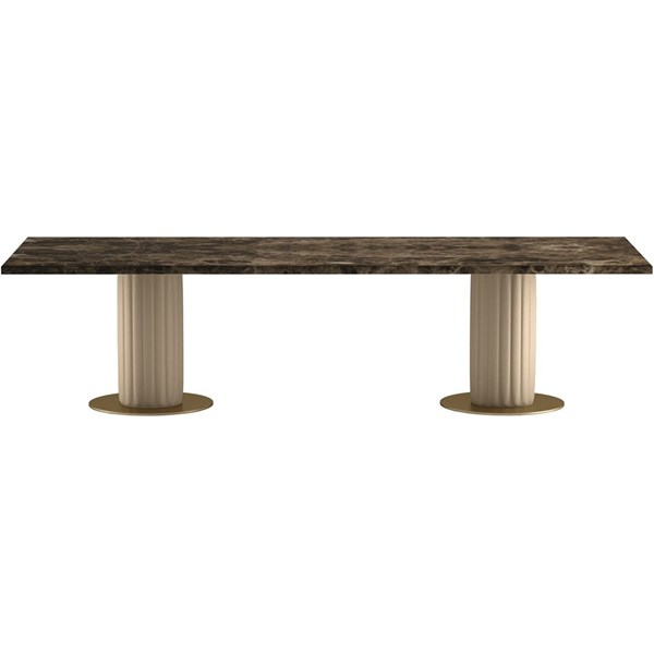 Touched D Pillar Leather & Emperador Marble Top Rectangle Dining Table
