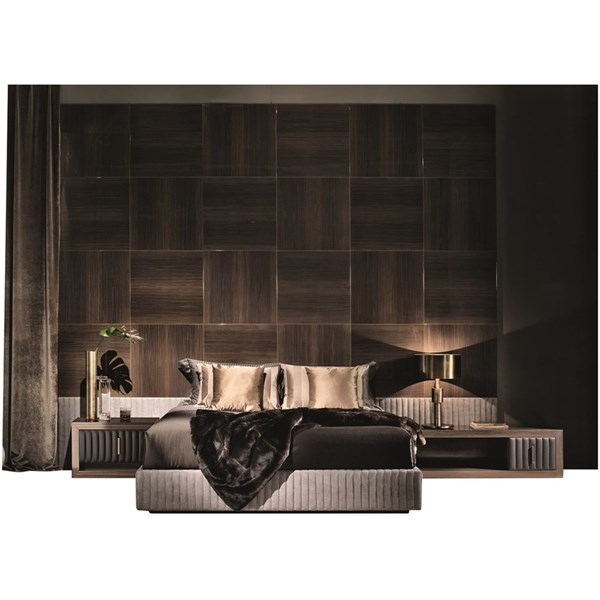 Touched D Tycoon Upholstered Panelled Leather Bedstead