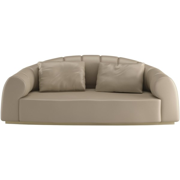 Touched D Upholstered Oyster Burnished Brass Sofa