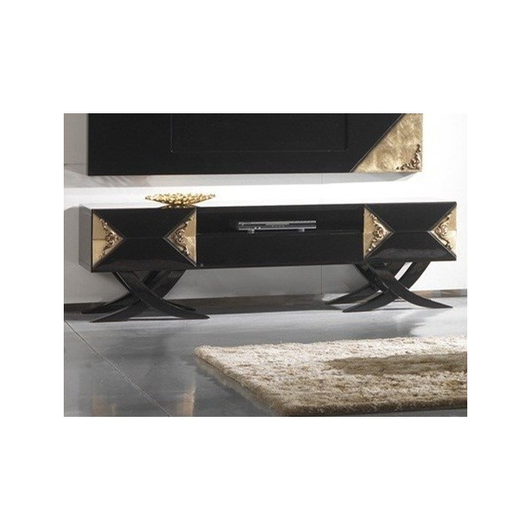 Luxury black gloss and antique gold leaf media unit
