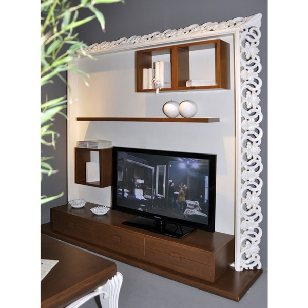 White and hazelnut carved television frame media unit