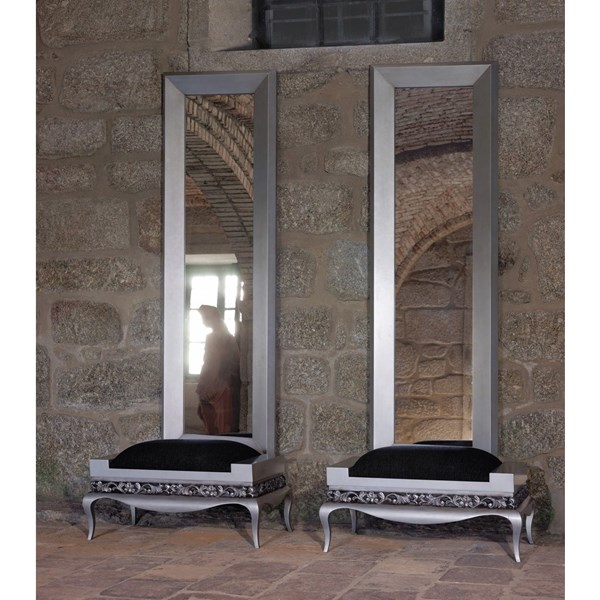 Twin tall silver rectangular mirror 200 x 60 cm