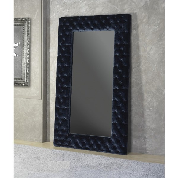 Upholstered Button Tufted Sapphire Blue Rectangle Mirror