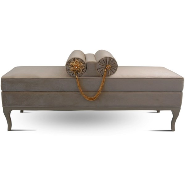 Velvet Solid Wood Crystal Bench