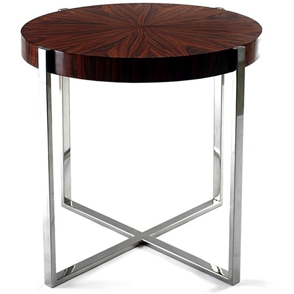 Veneered High Gloss Gold, Silver Leafed Stainless Steel Side Table
