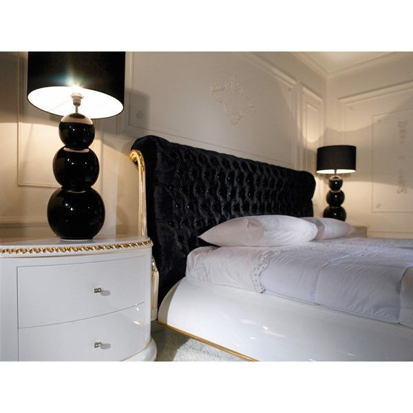 Venezia King Size black velvet diamante and gold leaf Headboard