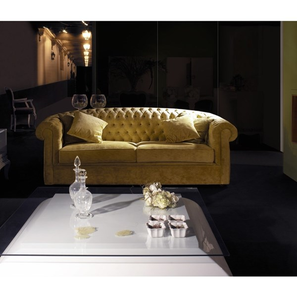 Venezia Button Tufted Upholstered Sunset Gold Sofa
