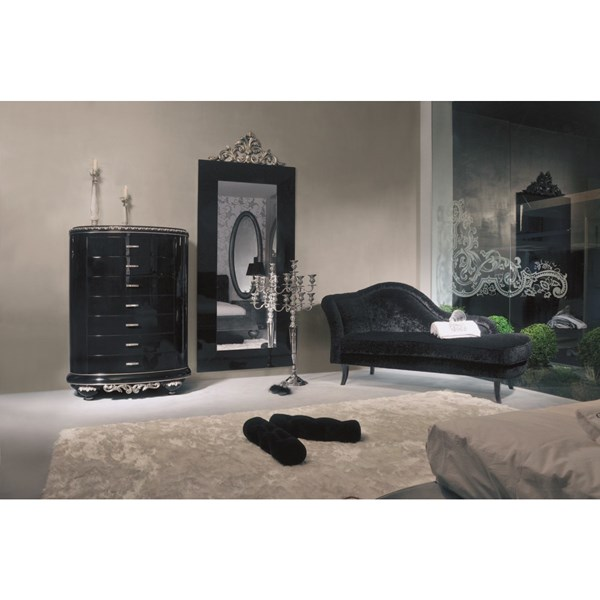 Venezia high gloss black and Swarovski Tall Chest with 7 drawers