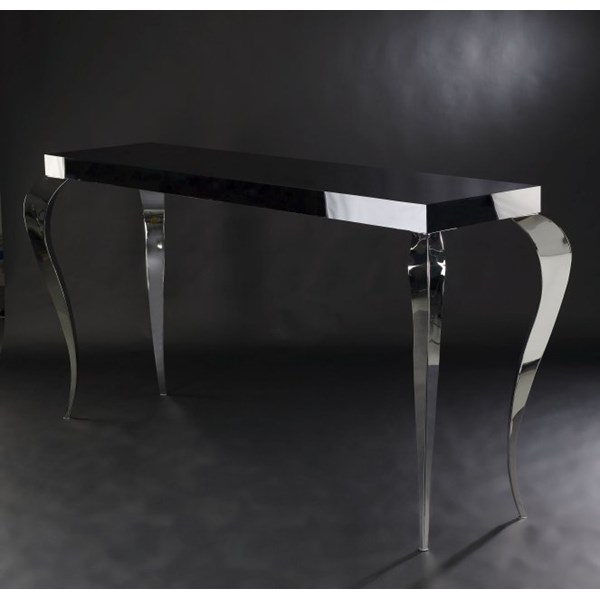 Luxury Sinuous Chrome High Gloss White Console Table