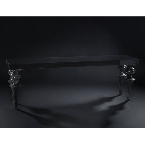 Luxury Carved High Gloss Black Console Table