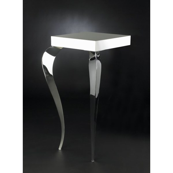 Luxury Steel Lacquered Square White Wall Side Table