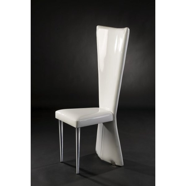 Luxury Patented White & Silver Dining Chair
