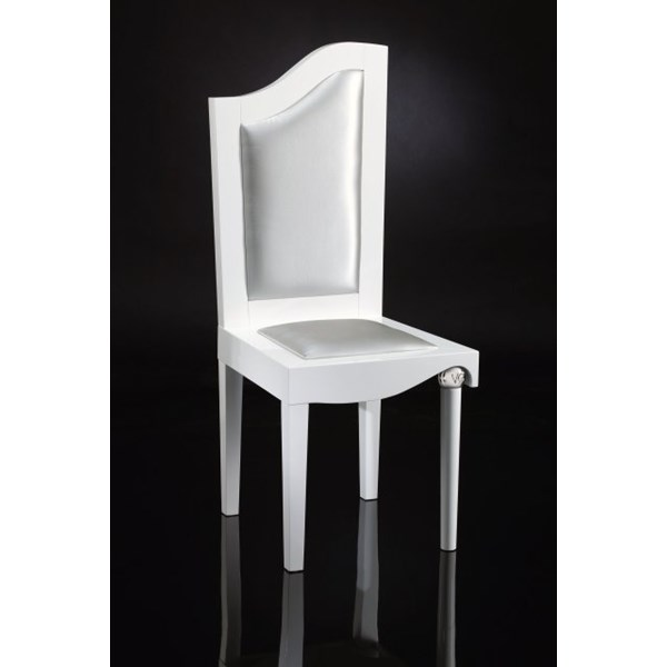 Luxury Upholstered Silver Leather And White Carved Chair