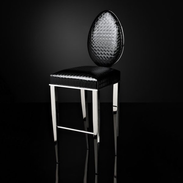 Luxury black and silver bar stool