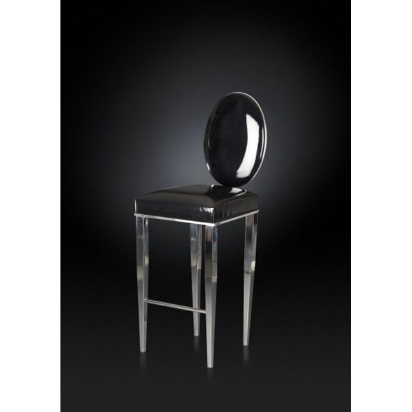 Luxury tall black and silver bar stool