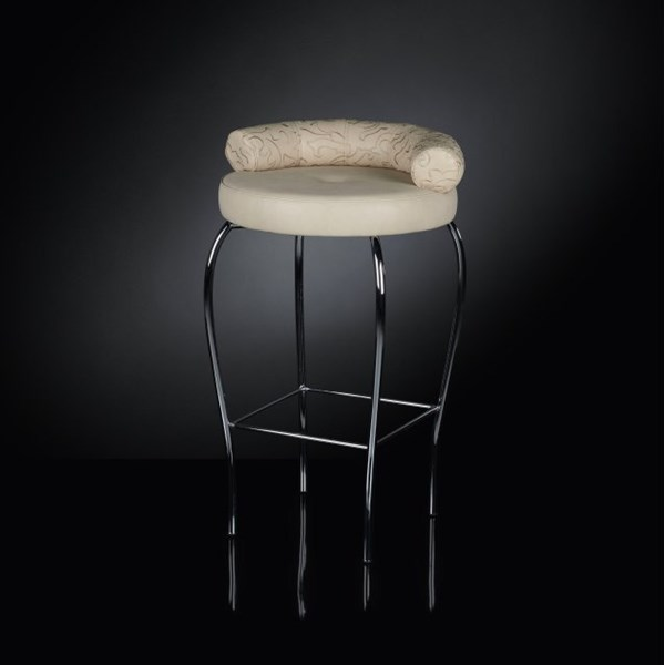 Luxury Upholstered Cream Glamour Chrome Bar Stool