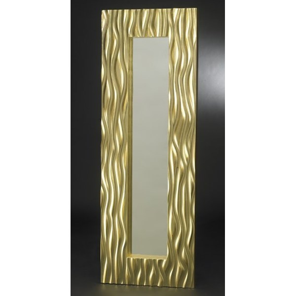 Luxury tall rectangular gold leaf mirror