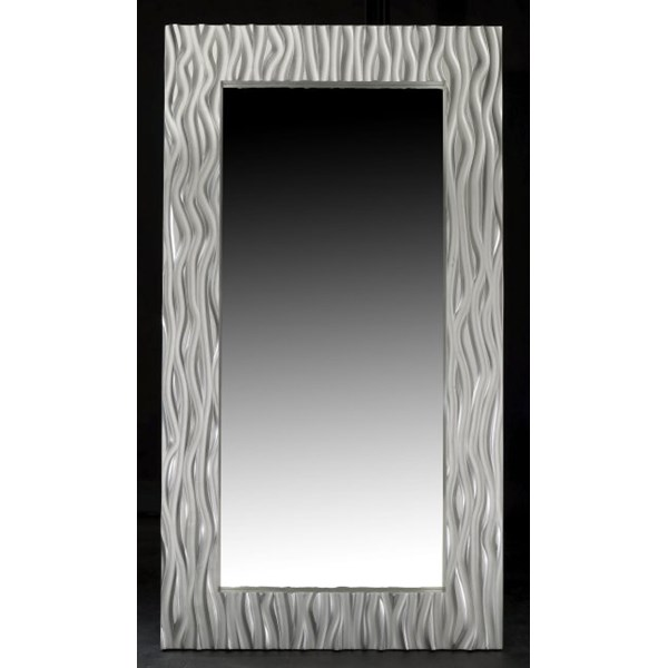 Luxury Tall Rectangle Carved Silver Leaf Mirror