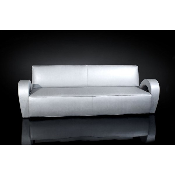 Luxury silver curved arm leather sofa