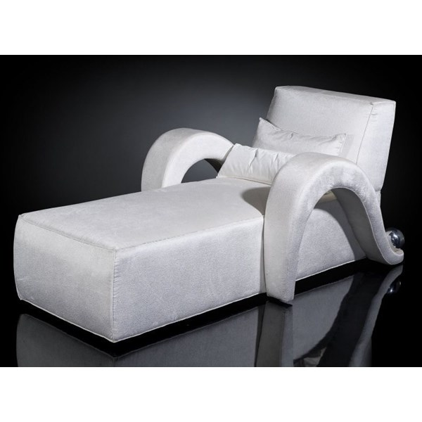 Luxury white curved arm chaise longue