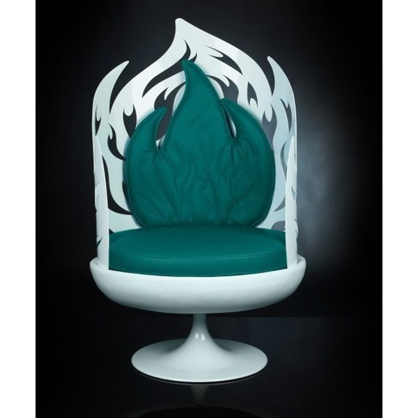 Luxury white and green swivel pod chair