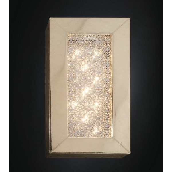 Luxury gold Asfour crystal tall rectangular box wall light