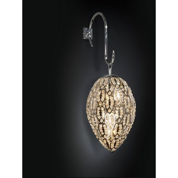 Luxury 80 cm drop Asfour crystal gold wall light