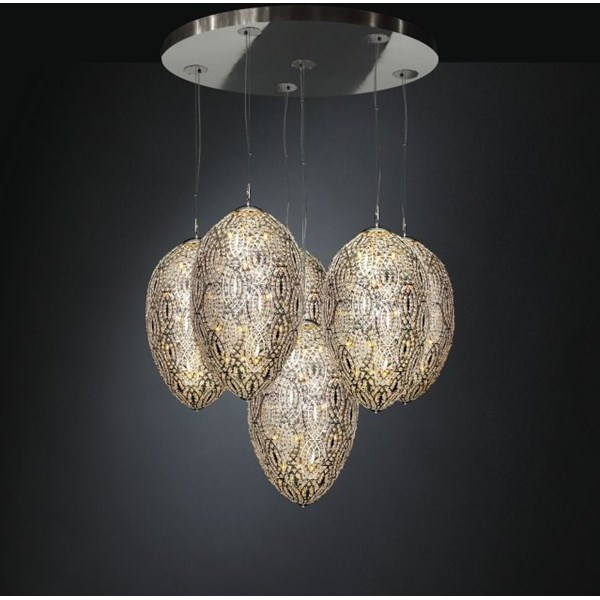 Luxury LED 220 cm drop 6 Shade Asfour Crystal chandelier