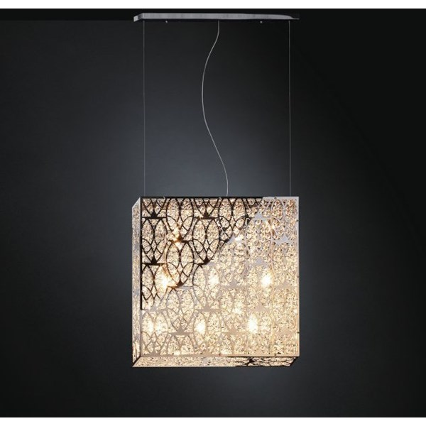 Luxury LED 50 cm Wide Asfour Crystal Box Chandelier