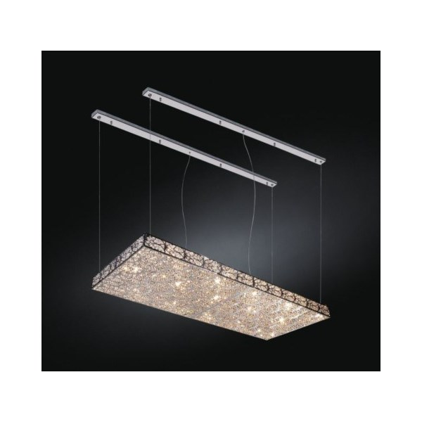Luxury LED 100 cm rectangular Asfour Crystal Chandelier