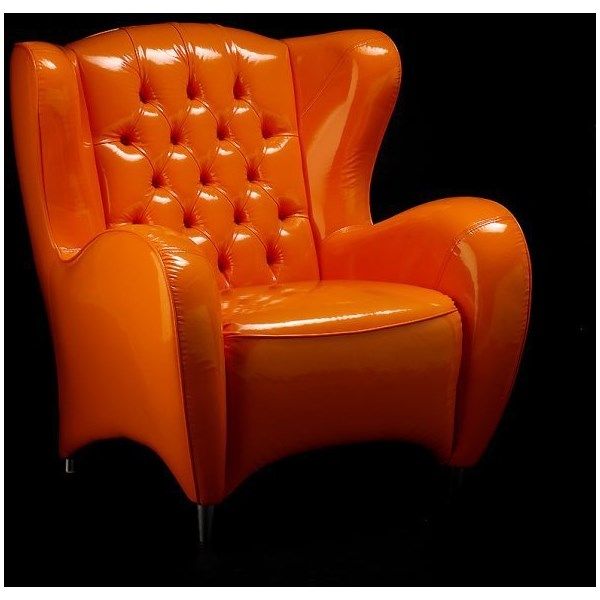 Luxury Upholstered Button Tufted Orange Armchair