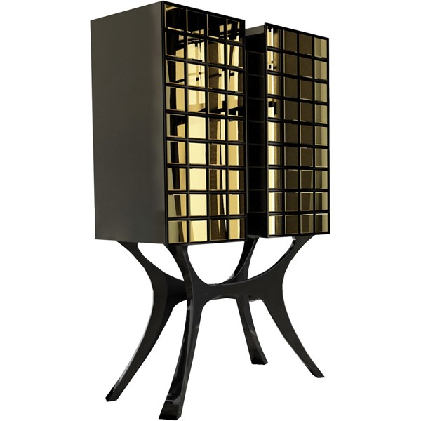 Vicenza Gold Leaf & Mirrored Drinks Cabinet