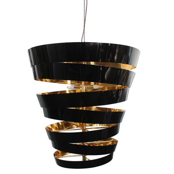 Volute Gold Plated & Lacquered Chandelier