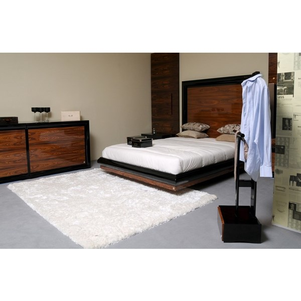High gloss walnut and black bedstead with tall glossy headboard